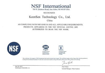 NSF Certificate 58