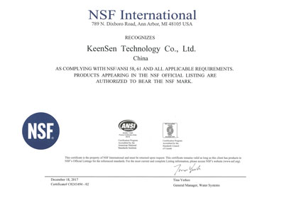NSF Certificate 58 61