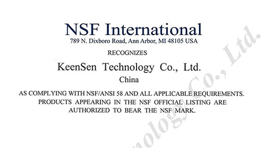 KeenSen Certified to NSF/ANSI 58