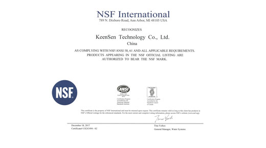 KeenSen Certified to NSF/ANSI 58,61